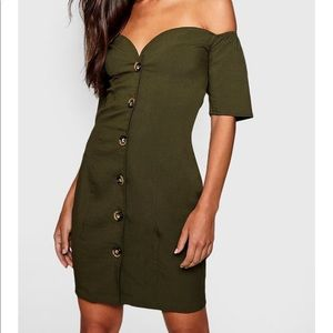 Sweetheart Mock Horn Button Front Mini Dress